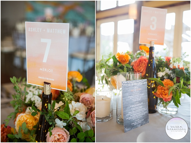 Laurita winery wedding a rustic chic wedding ashley matt wine bottle centerpieces at laurita winery wedding junglespirit Image collections