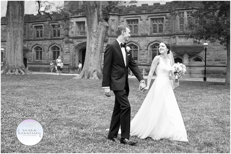 Black and white photo of a couple on the campus of Princeton university