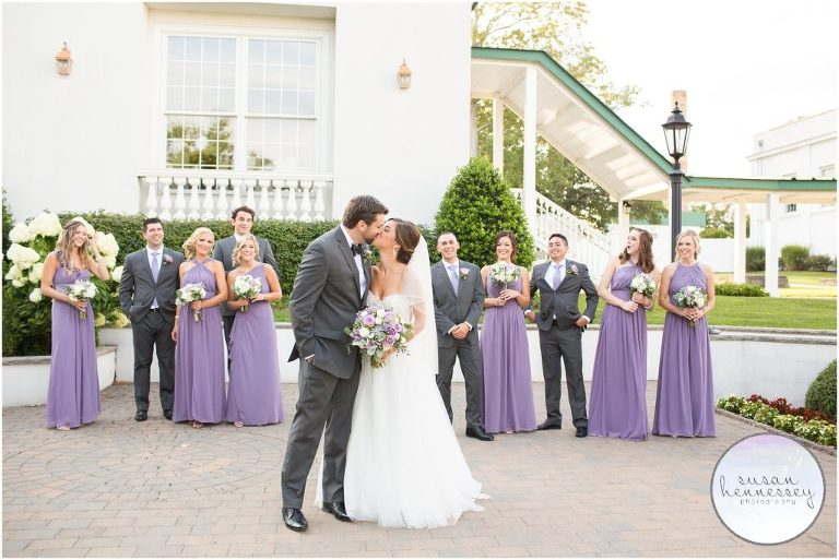 Happy couple and bridal party at their Summer Stockton Seaview Hotel Wedding