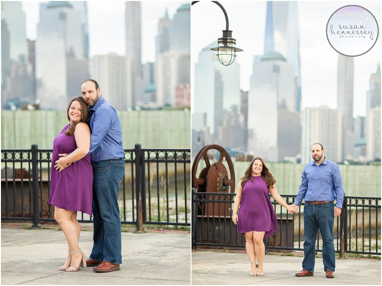 Jersey City Engagement Session overlooking the new york city skyline.