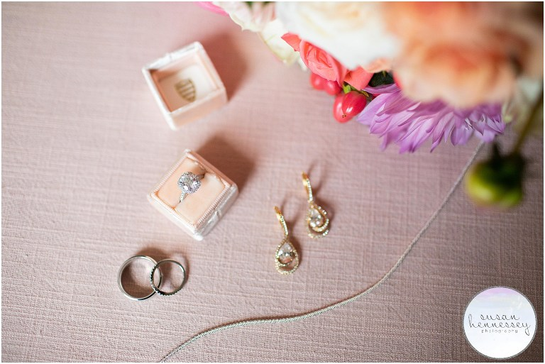 Bridal details with a pink color palette.