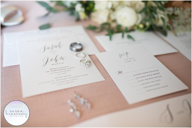 Classic invitation suite and bride's jewelry.