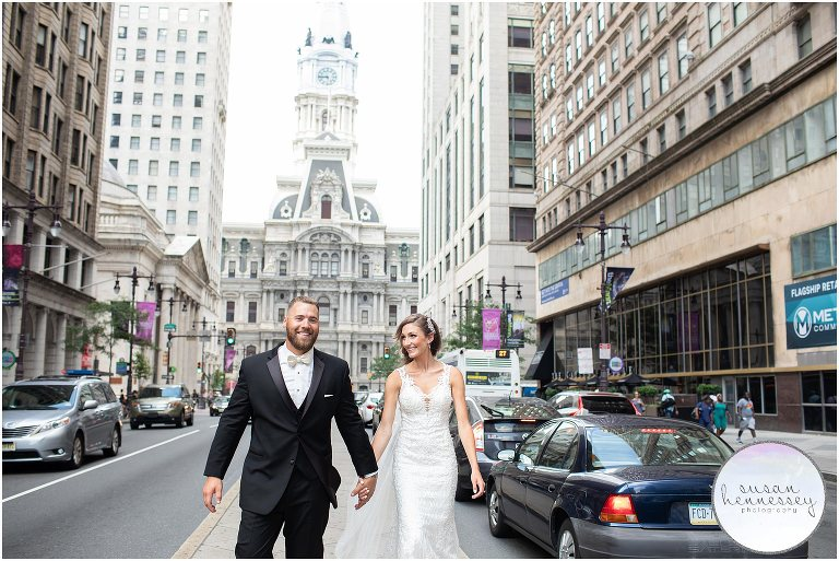 City Hall portraits for Philadelphia wedding.