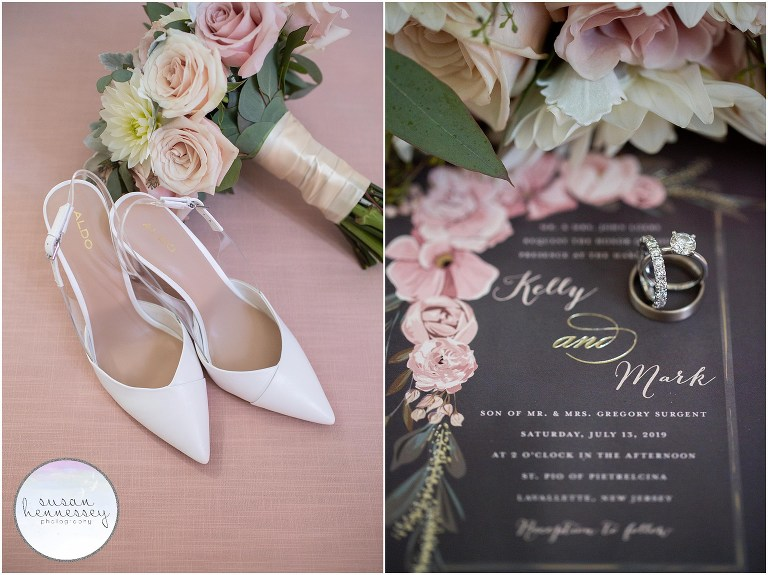 Bride's shoes, bouquet, invitation, wedding bands and engagement ring
