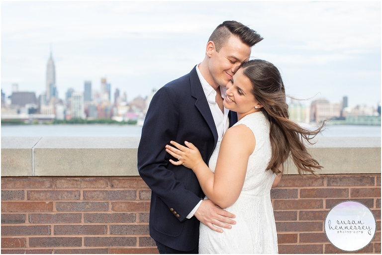 Happy engaged couple in North Jersey for their engagement session
