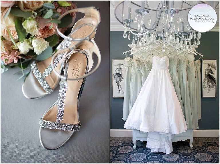 Bride's shoes, bouquet and bridesmaid and bridal dresses