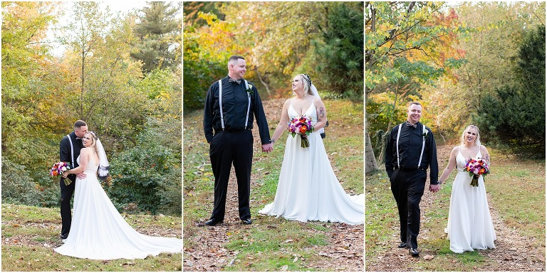 Bride and Groom portraits at Taylor Arboretum