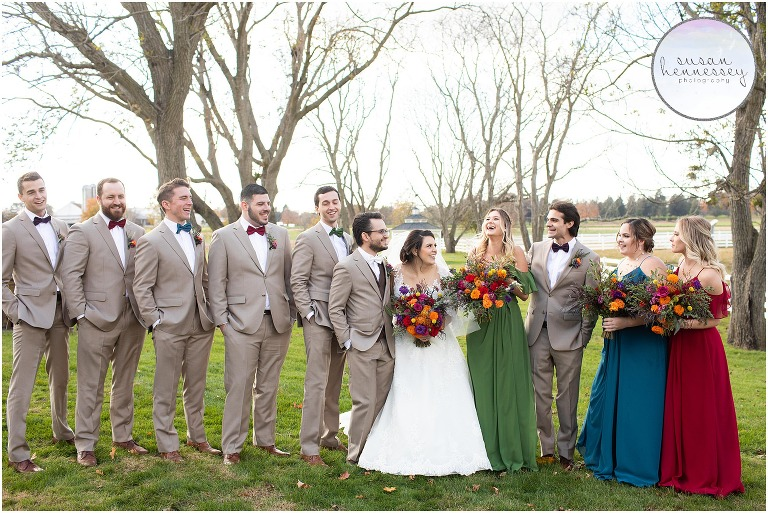 Bridal party with fall colors at Barn at Silverstone wedding