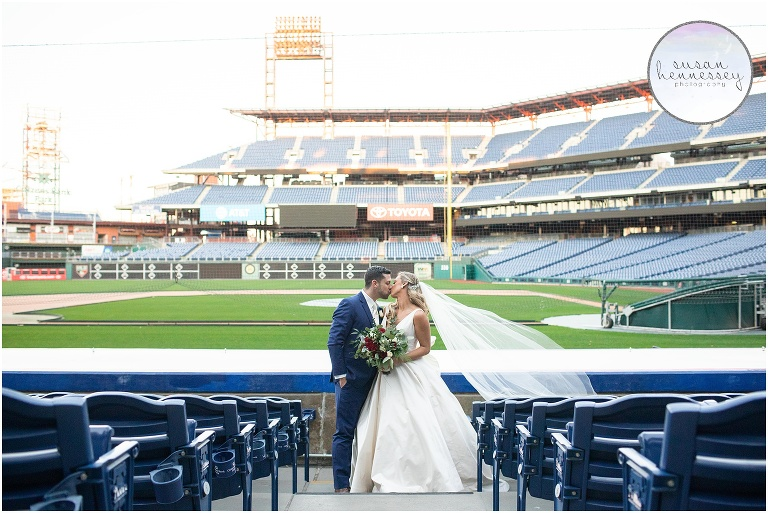 Bride and groom at Citizens Bank Park in Philadelphia.