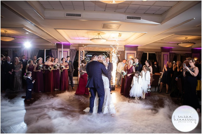 A couple dances on the clouds for their first dance.