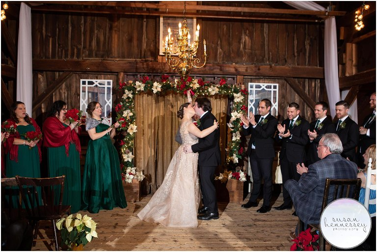 Indoor ceremony at the Loft at Jack's Barn in Oxford, NJ
