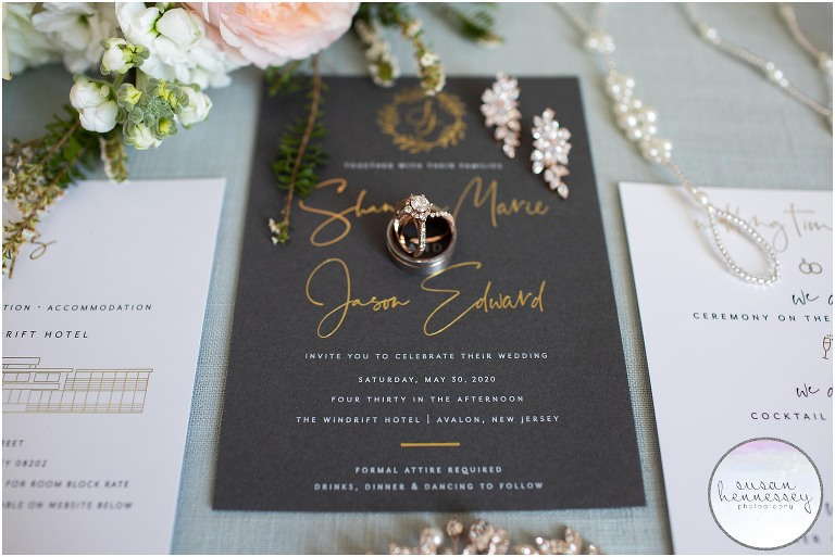 Invitation suite for a May 30th wedding that was postponed due to COVID-19