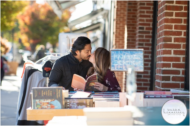 An engaged couple at a Princeton book store