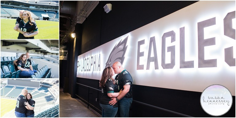 Lincoln Financial Field is a unique location for a Philadelphia engagement session, perfect for the couple who loves the Eagles!