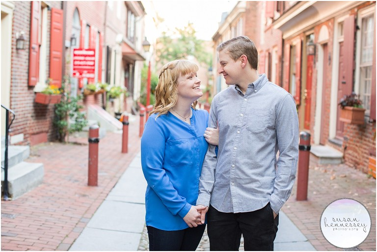 Elfreth's Alley is one of my favorite Philadelphia Engagement Photo Locations