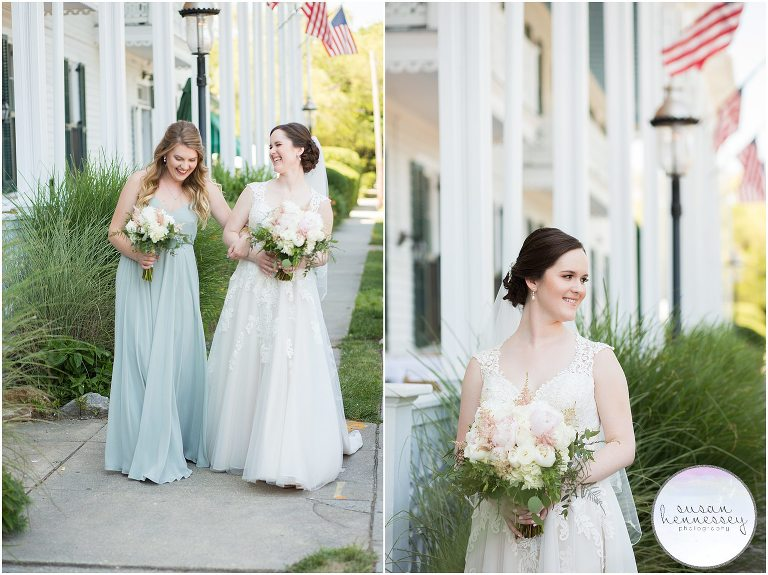 A bride and her maid of honor at the Chalfonte Hotel