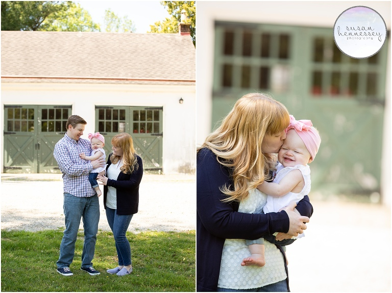 Family and mommy and me photos before Maura's Rainbow Themed Cake Smash photography session