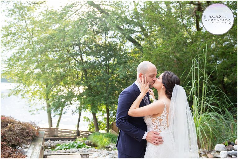 Beautiful rustic backyard wedding at family lake house in South Jersey