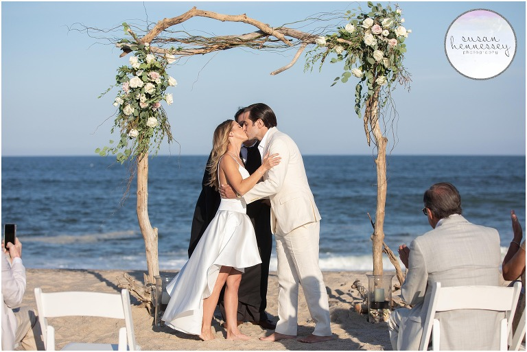 Couple kiss at their south jersey microwedding ceremony