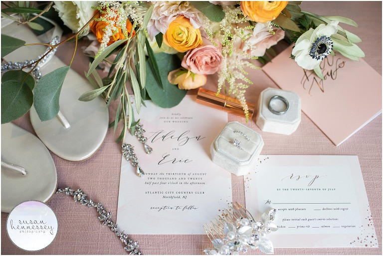 Bridal details at classic and romantic wedding