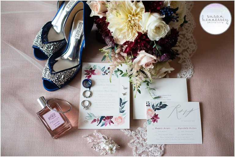 Bridal details for Fall Wedding at Old York Country Club