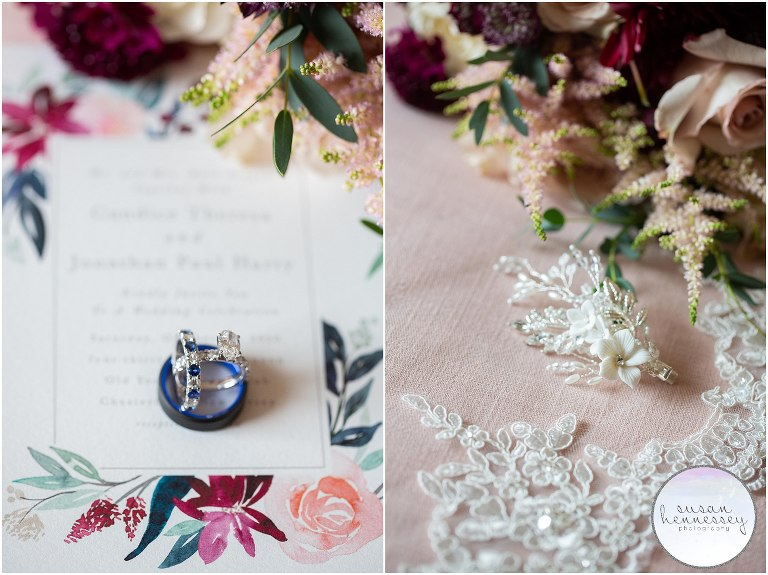 Details of rings, invitation and bride's hair piece for Fall Wedding at Old York Country Club