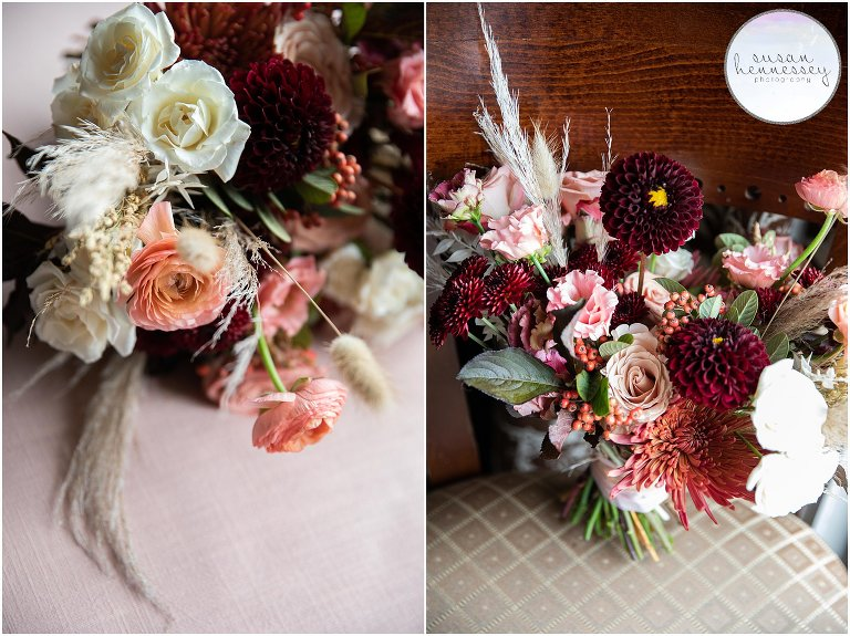 Autumn bridal bouquet at Andre's Lakeside Dining Microwedding