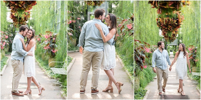 A summer Engagement Session at Longwood Gardens in the conservatory