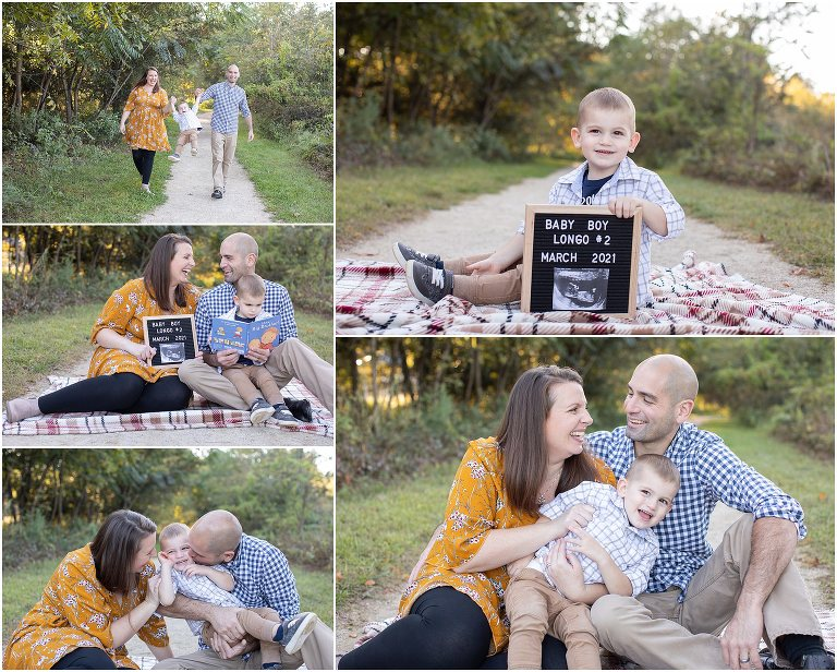 A pregnancy announcement at a family's South Jersey holiday family photo sessions