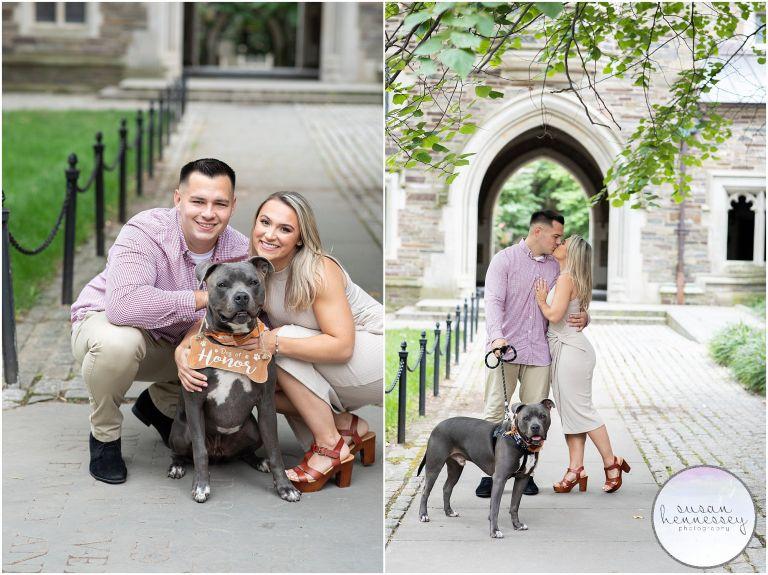 Princeton Engagement Session at Princeton University with couples dog