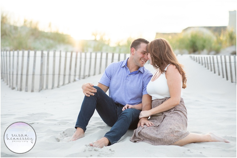 An engagement session on the beach after the couple's surprise proposal