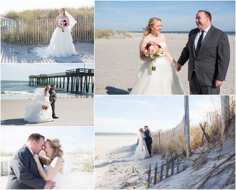Beach portraits for the bride and groom at an Avalon Yacht Club wedding