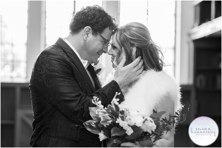 Indoor portraits at a Winter Microwedding at Community House of Moorestown