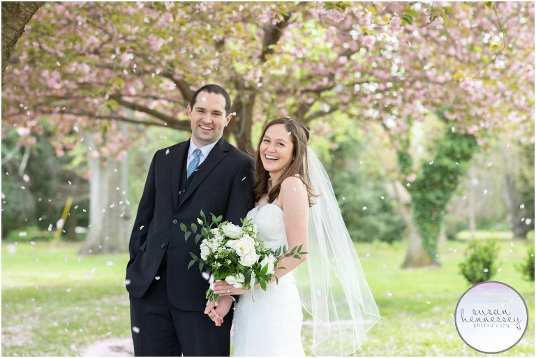 NJ Micro Wedding photography by Susan Hennessey Photography during cherry blossom season