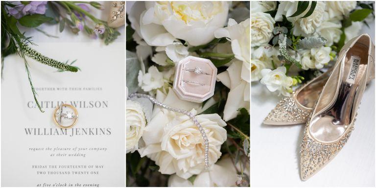 Bridal bridal details for Spring wedding at Atlantic City Country Club