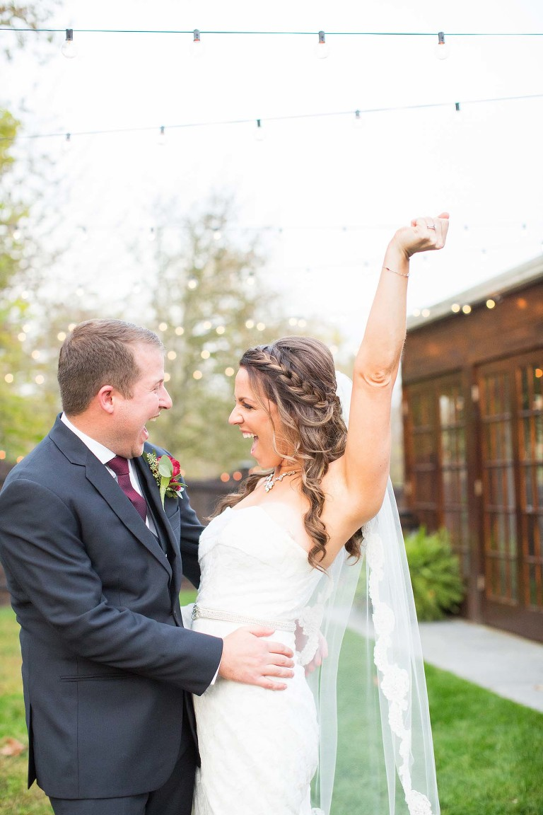 Excited Bride and Groom immediately following their wedding at the Hamilton Manor in Hamilton, New Jersey.